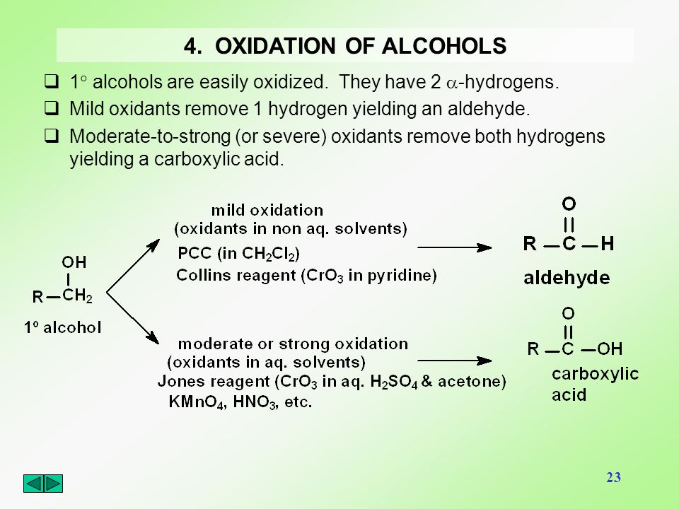 4. OXIDATION OF ALCOHOLS 1 alcohols are easily oxidized. They have 2 -hydrogens. Mild oxidants remove 1 hydrogen yielding an aldehyde.