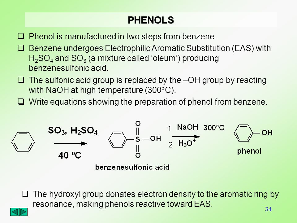 PHENOLS Phenol is manufactured in two steps from benzene.
