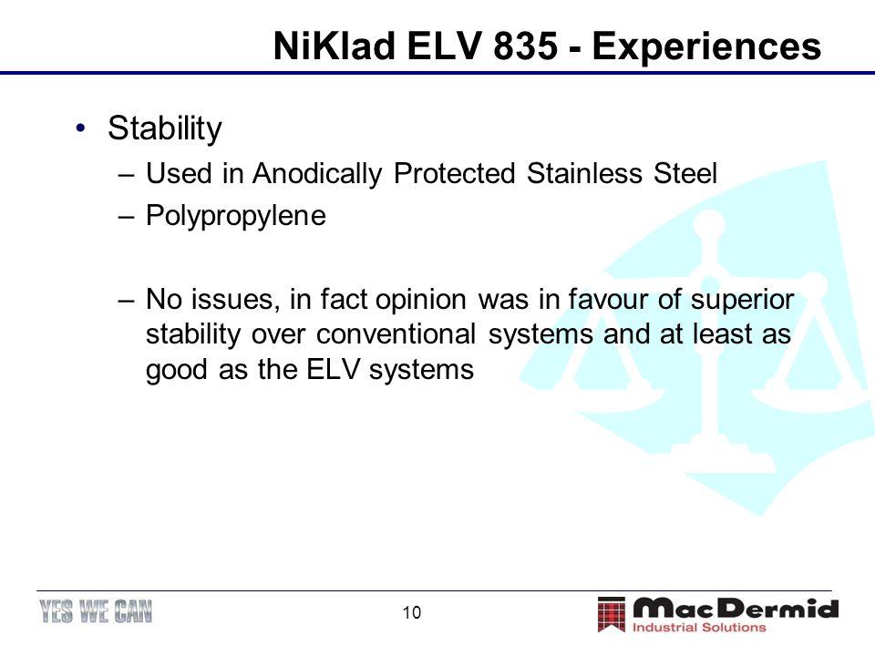 NiKlad ELV 835 - Experiences
