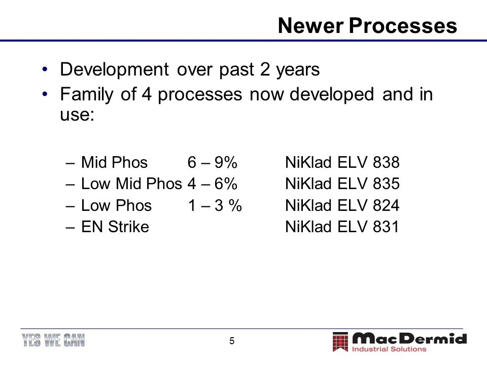 Newer Processes Development over past 2 years