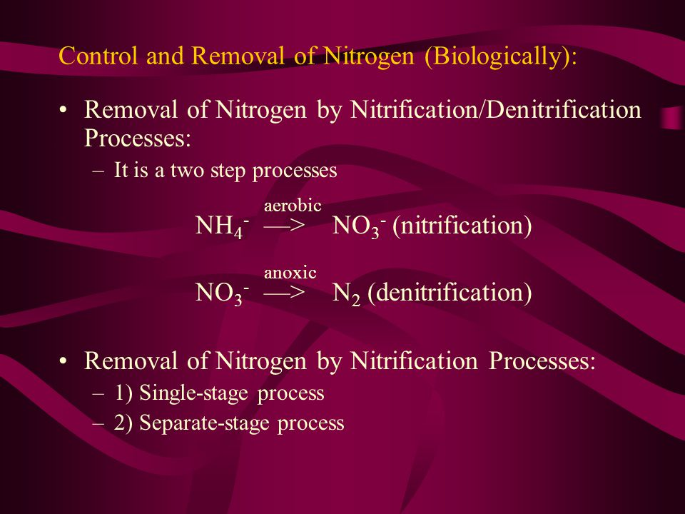 Control and Removal of Nitrogen (Biologically):