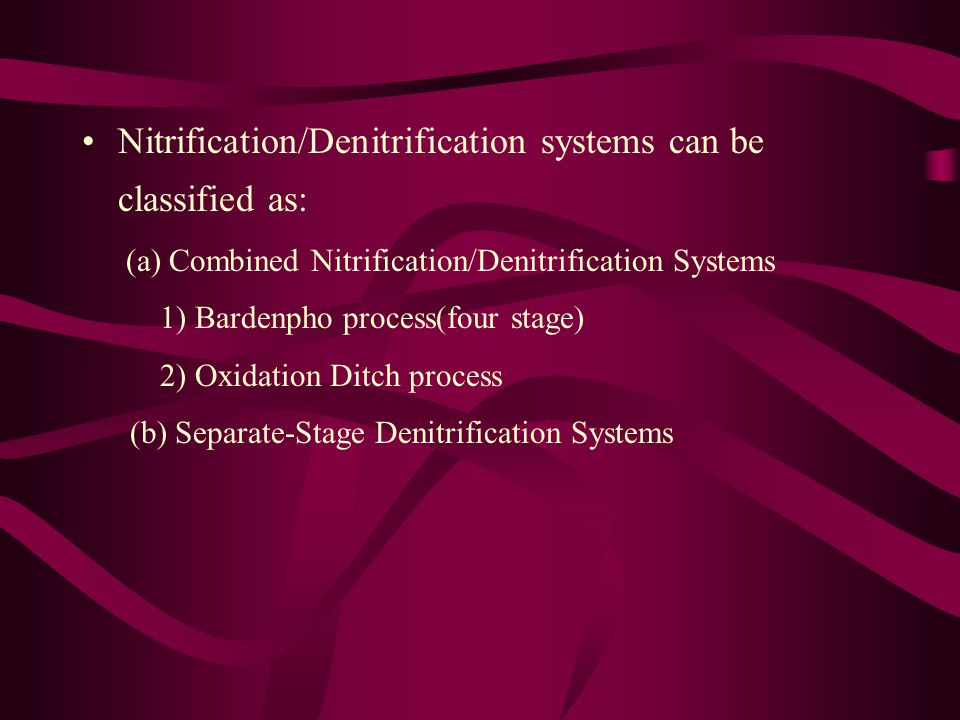 Nitrification/Denitrification systems can be classified as: