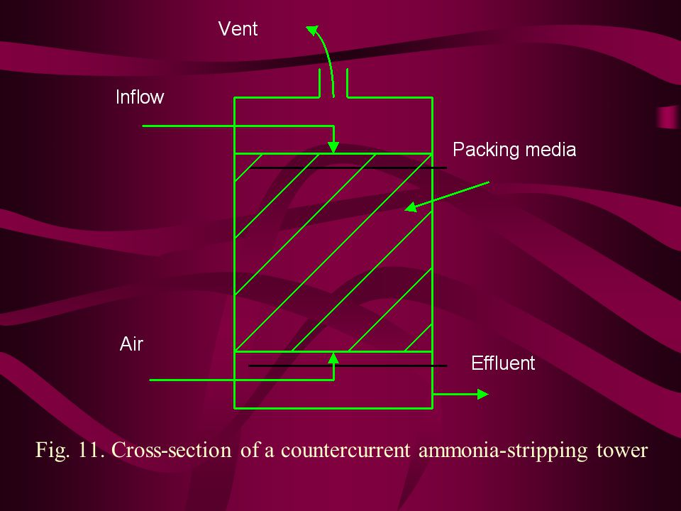 Fig. 11. Cross-section of a countercurrent ammonia-stripping tower