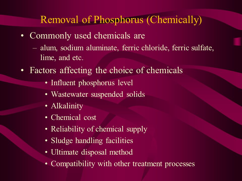 Removal of Phosphorus (Chemically)