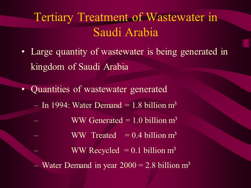 Tertiary Treatment of Wastewater in Saudi Arabia