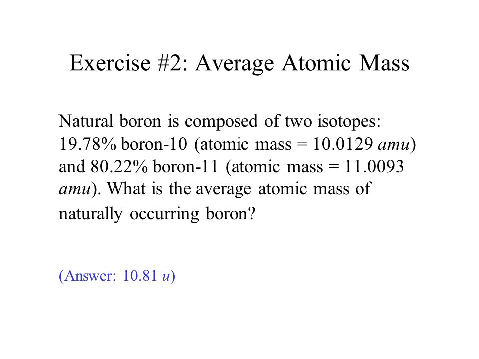Exercise #2: Average Atomic Mass
