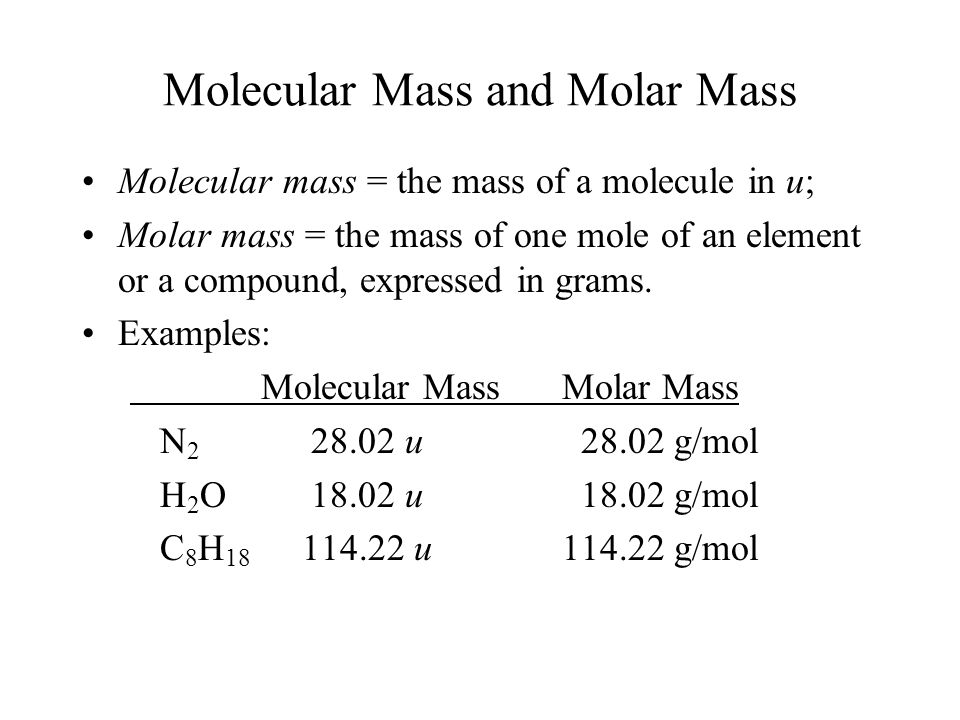 Molecular Mass and Molar Mass