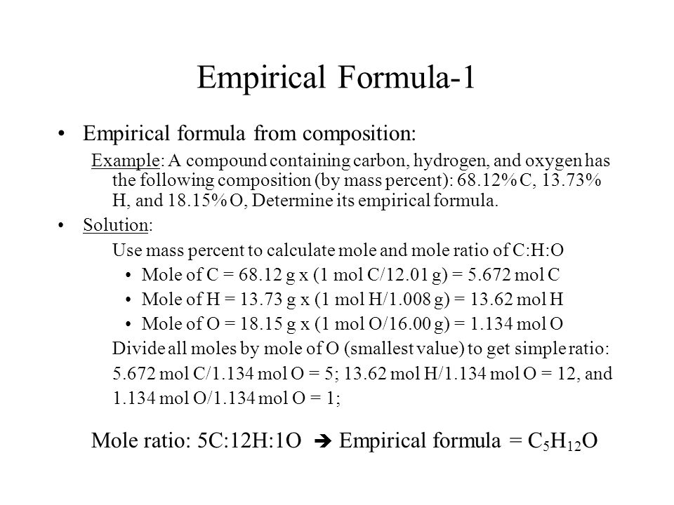 Empirical Formula-1 Empirical formula from composition: