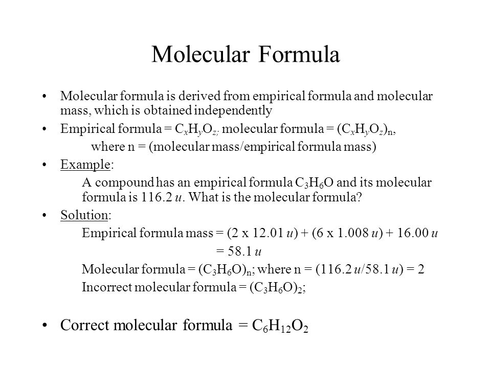 Molecular Formula Correct molecular formula = C6H12O2