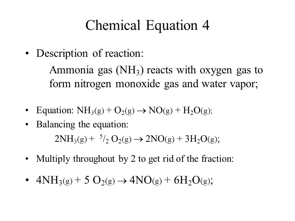 Chemical Equation 4 Description of reaction: