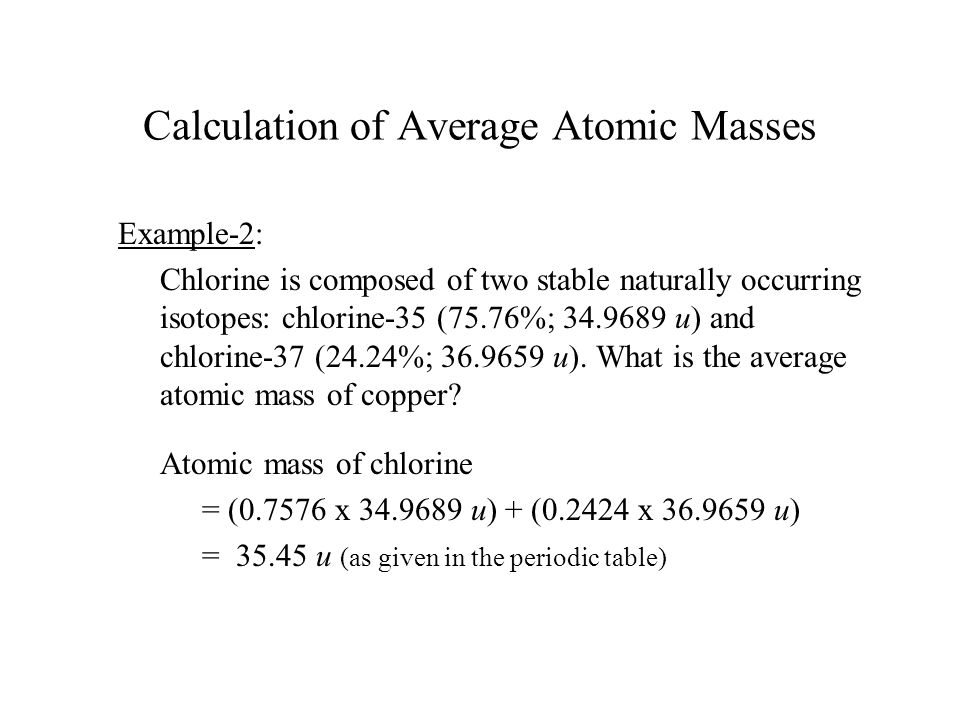 Calculation of Average Atomic Masses