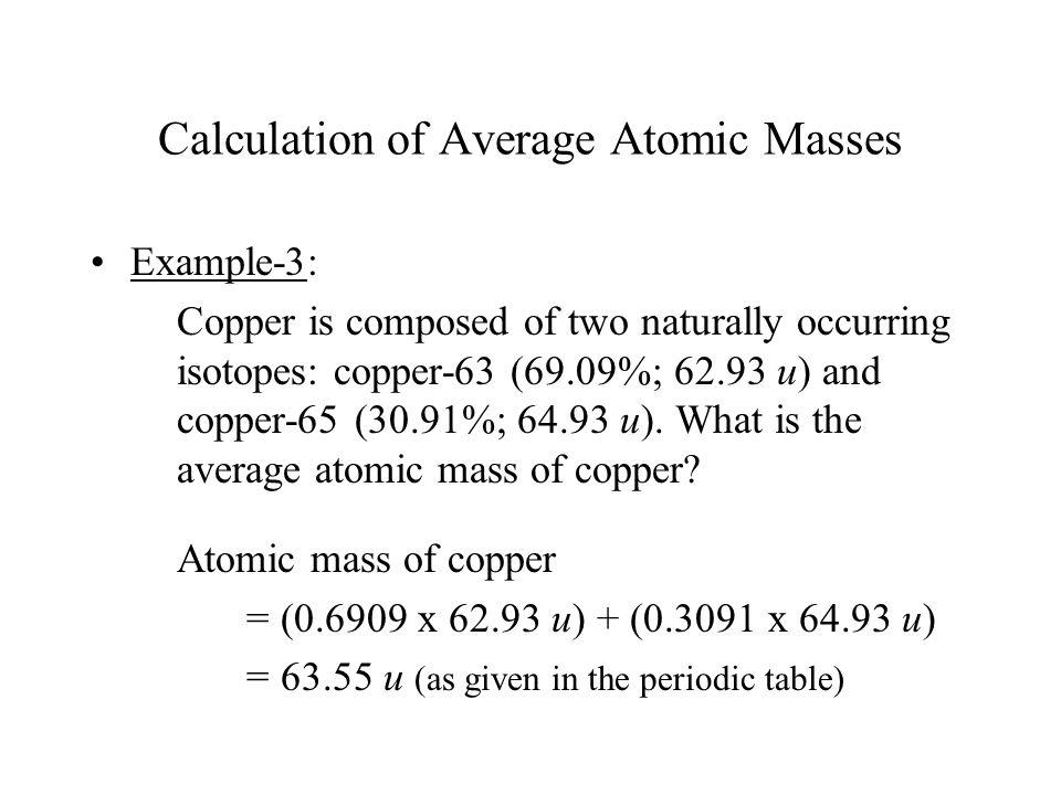 Calculation of Average Atomic Masses