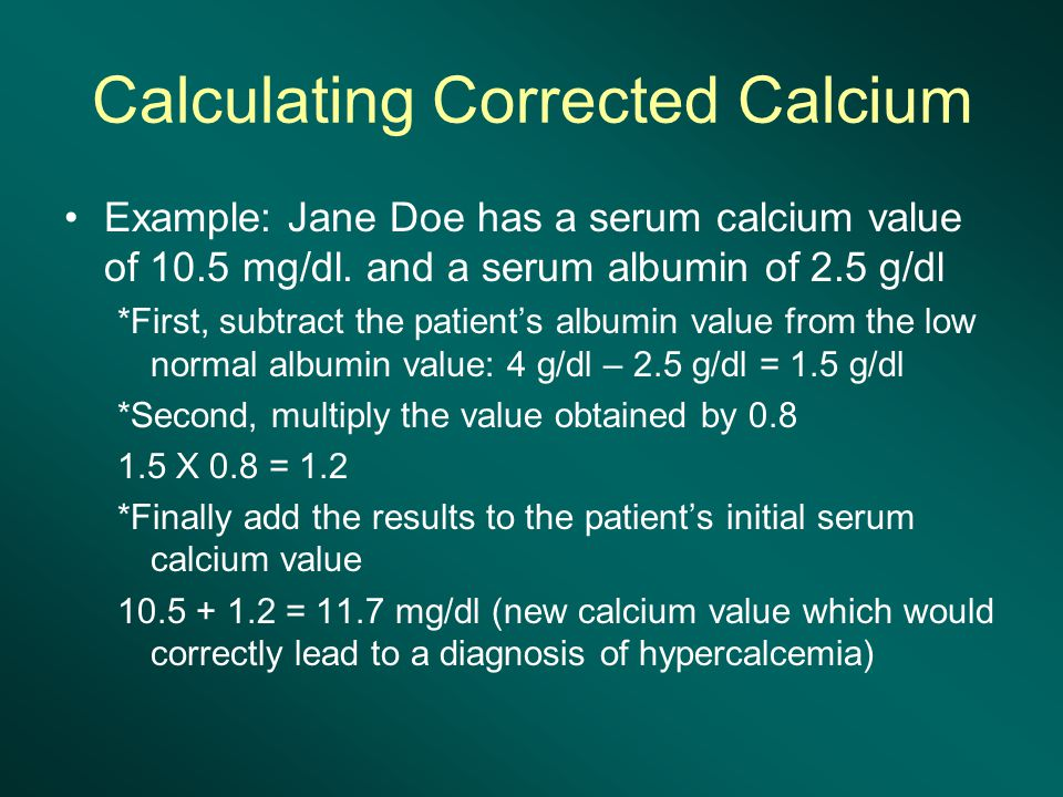 Calculating Corrected Calcium