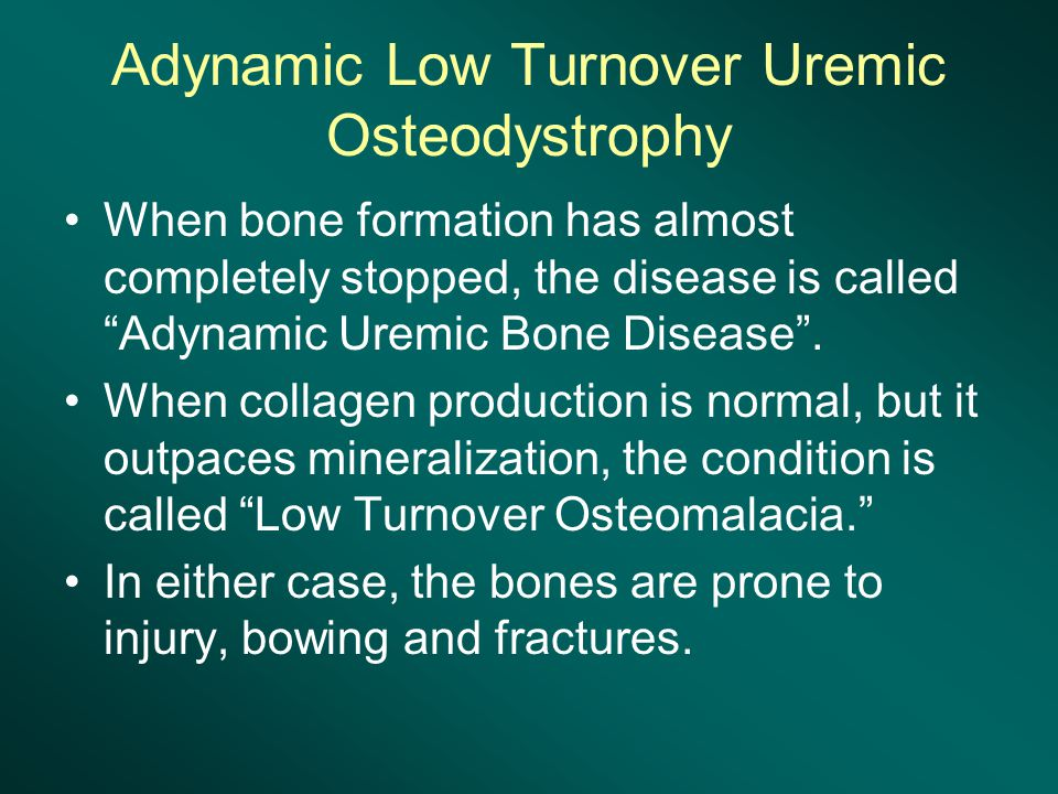 Adynamic Low Turnover Uremic Osteodystrophy