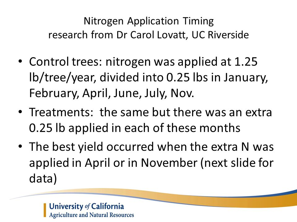 Nitrogen Application Timing research from Dr Carol Lovatt, UC Riverside