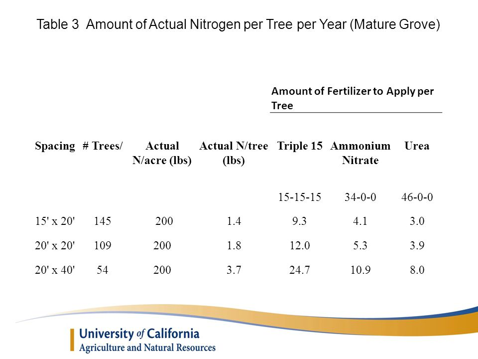 Table 3 Amount of Actual Nitrogen per Tree per Year (Mature Grove)