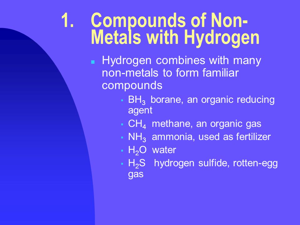1. Compounds of Non- Metals with Hydrogen