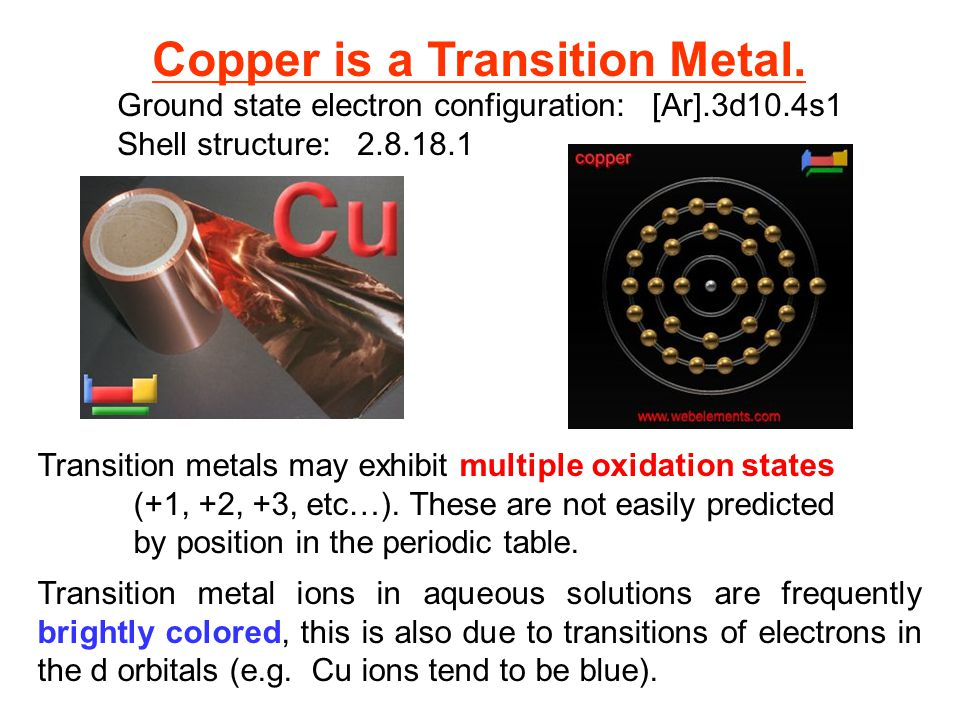 Copper is a Transition Metal.