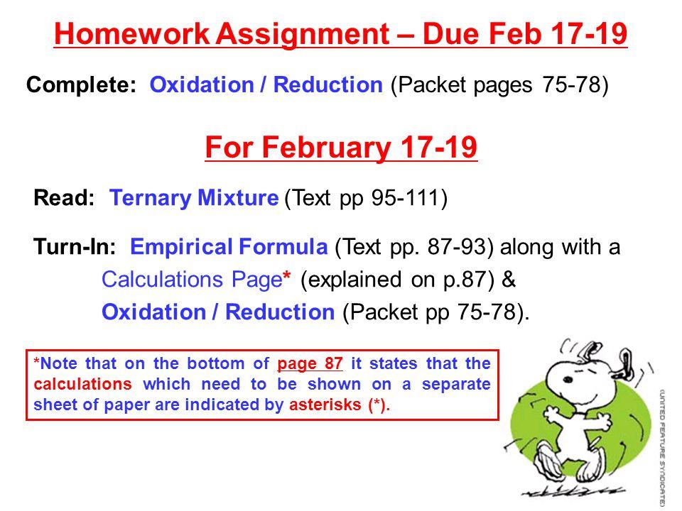 Homework Assignment – Due Feb 17-19