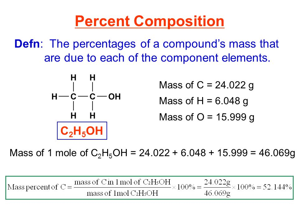 Percent Composition Defn: The percentages of a compound's mass that are due to each of the component elements.