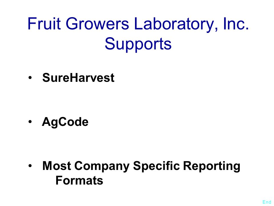Fruit Growers Laboratory, Inc. Supports
