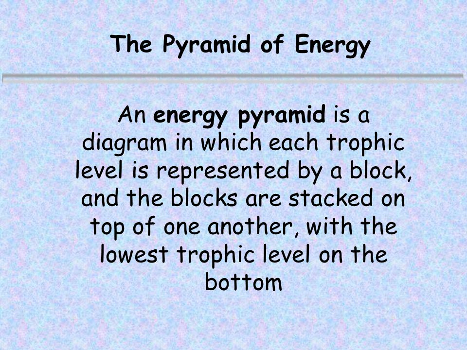 The Pyramid of Energy