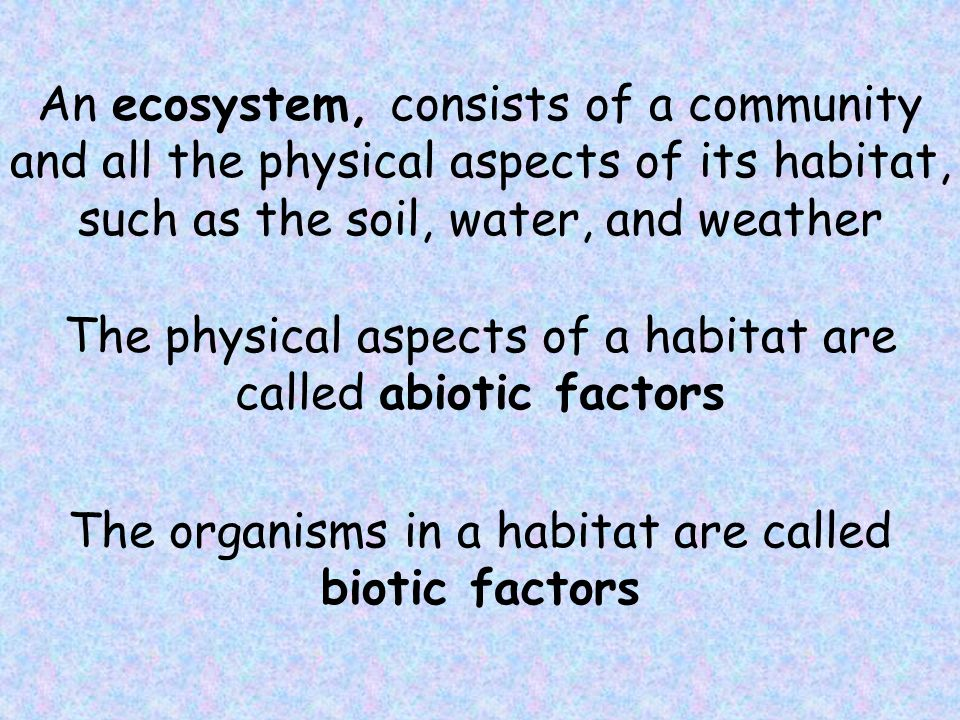 The physical aspects of a habitat are called abiotic factors