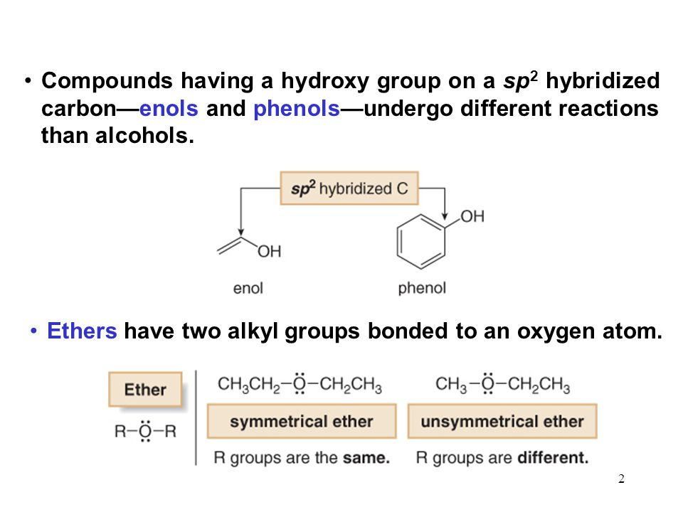 Compounds having a hydroxy group on a sp2 hybridized carbon—enols and phenols—undergo different reactions than alcohols.