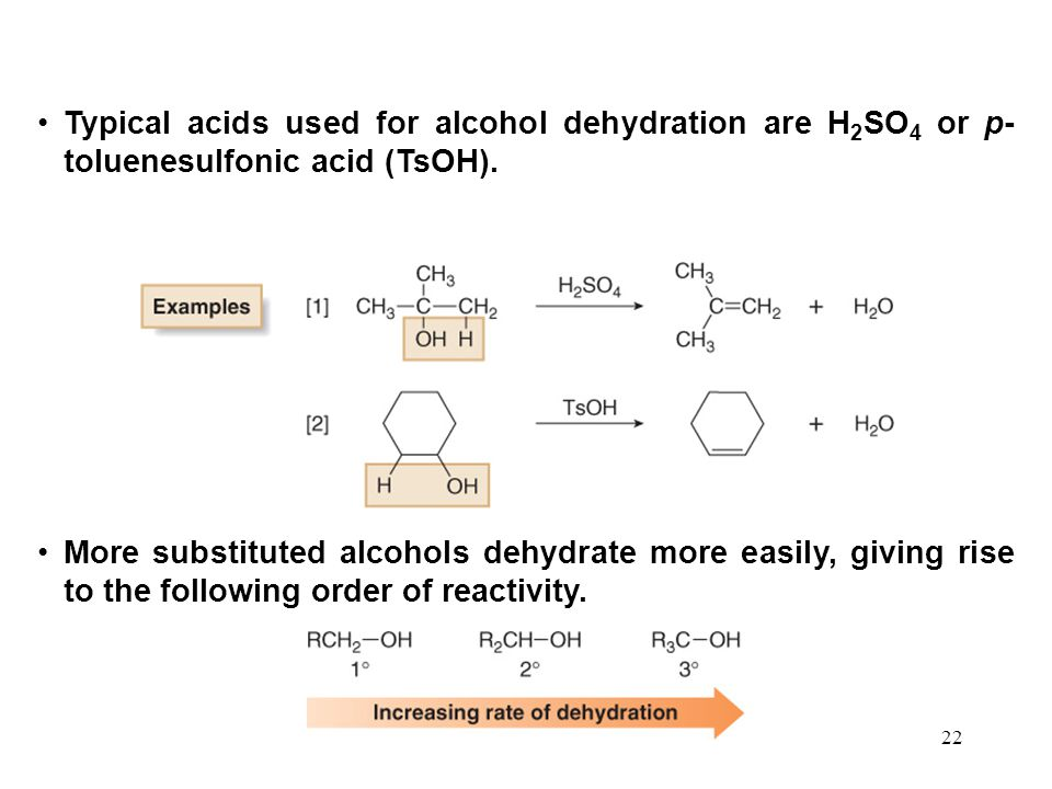 Typical acids used for alcohol dehydration are H2SO4 or p-toluenesulfonic acid (TsOH).