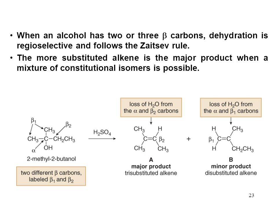 When an alcohol has two or three  carbons, dehydration is regioselective and follows the Zaitsev rule.