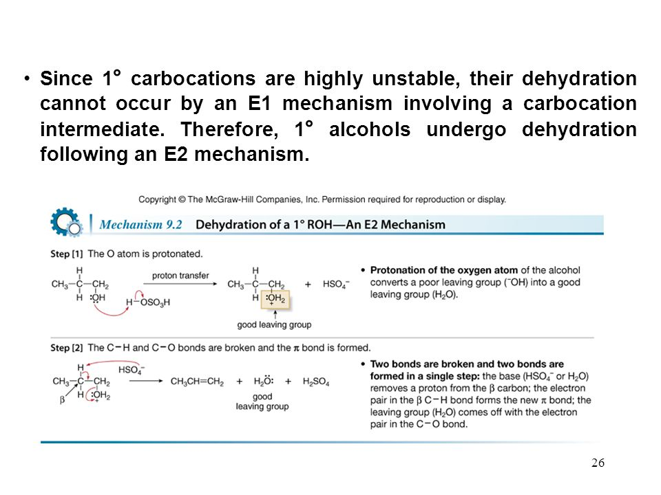 Since 1° carbocations are highly unstable, their dehydration cannot occur by an E1 mechanism involving a carbocation intermediate.