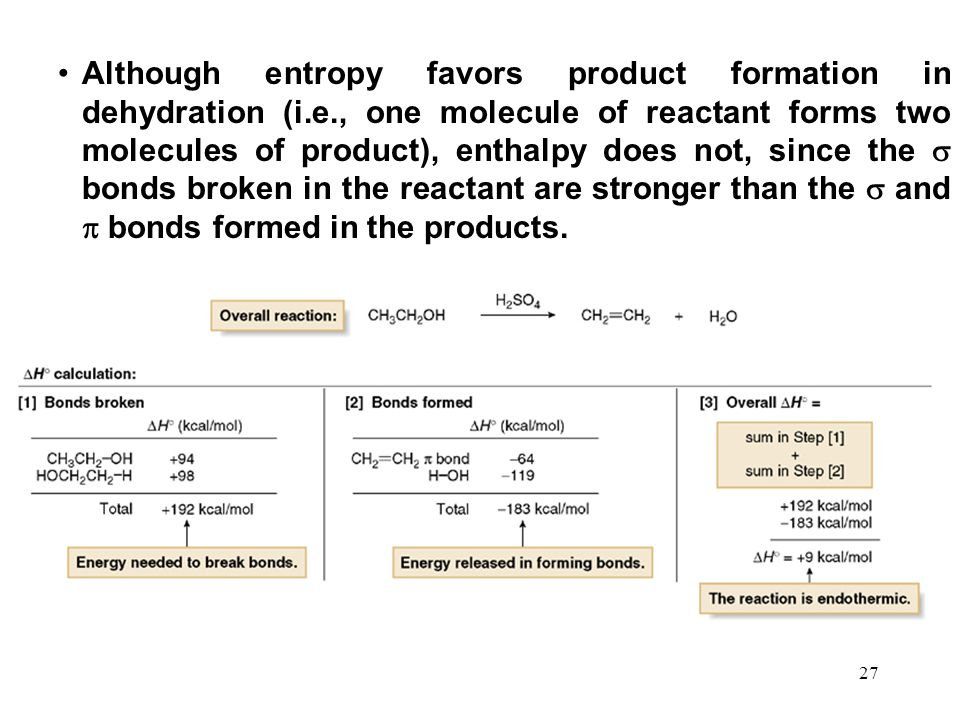 Although entropy favors product formation in dehydration (i. e