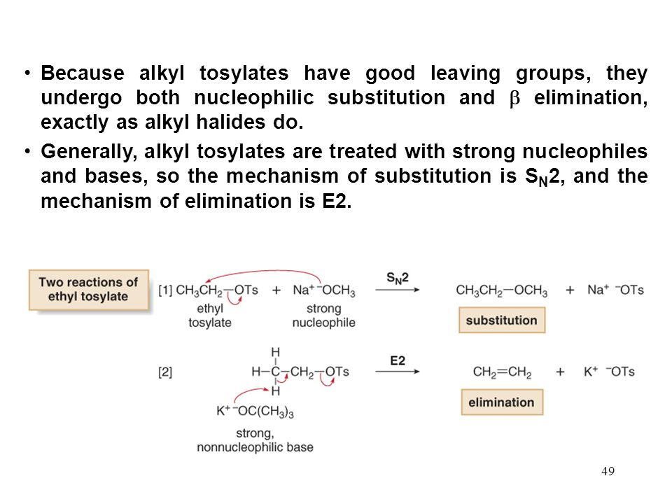 Because alkyl tosylates have good leaving groups, they undergo both nucleophilic substitution and  elimination, exactly as alkyl halides do.