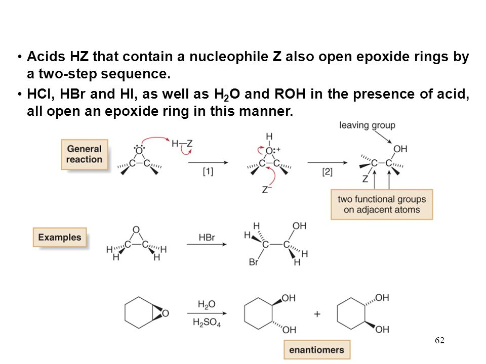 Acids HZ that contain a nucleophile Z also open epoxide rings by a two-step sequence.