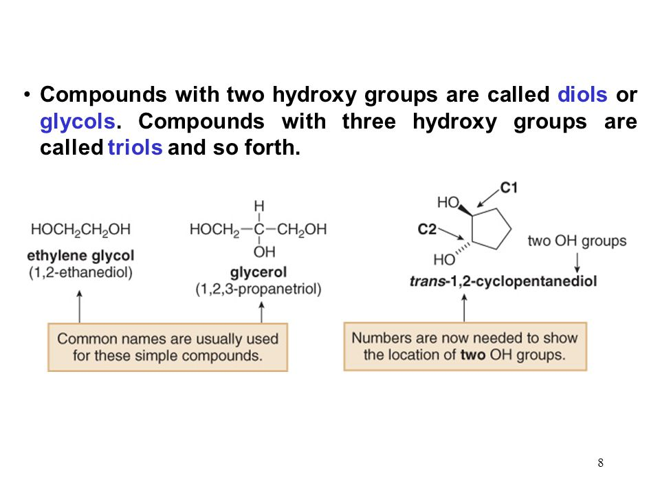 Compounds with two hydroxy groups are called diols or glycols