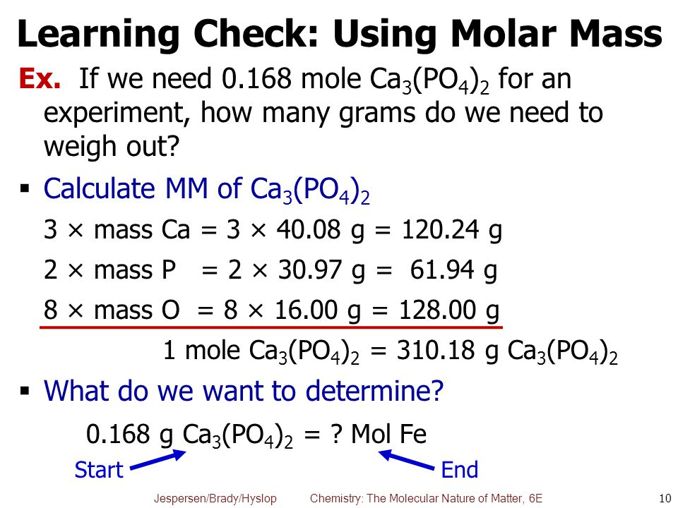 Learning Check: Using Molar Mass
