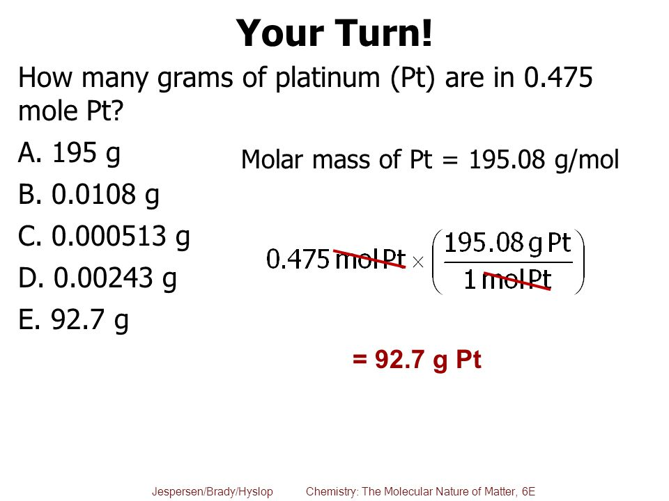 Your Turn! How many grams of platinum (Pt) are in 0.475 mole Pt 195 g