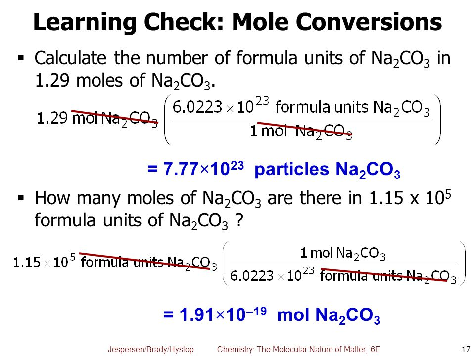 Learning Check: Mole Conversions