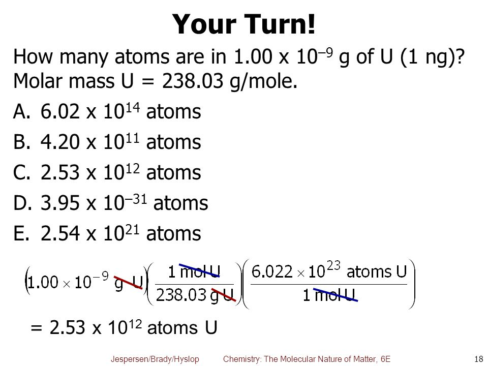 Your Turn! How many atoms are in 1.00 x 10–9 g of U (1 ng) Molar mass U = 238.03 g/mole. 6.02 x 1014 atoms.