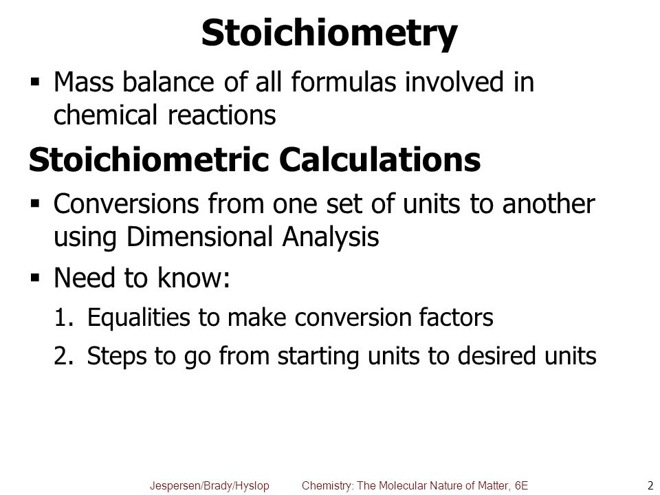 Stoichiometry Stoichiometric Calculations