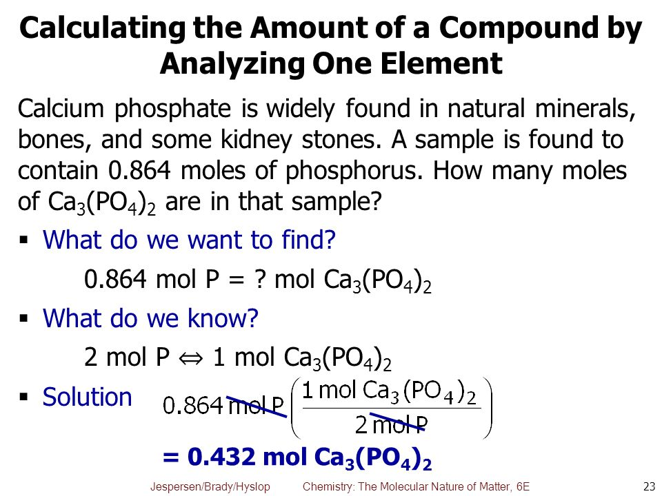 Calculating the Amount of a Compound by Analyzing One Element