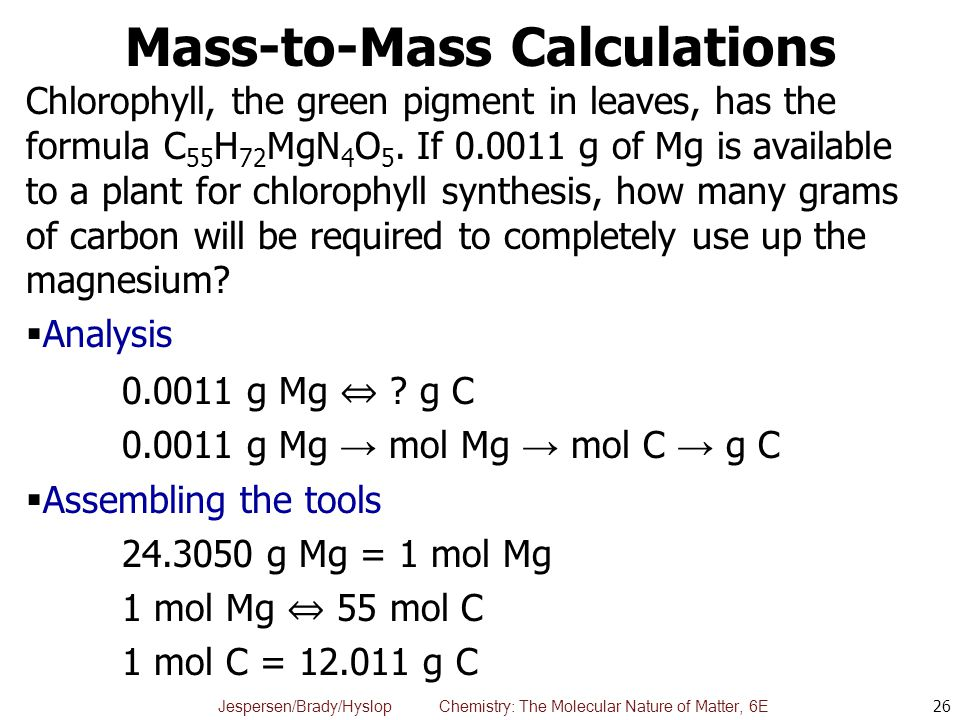 Mass-to-Mass Calculations