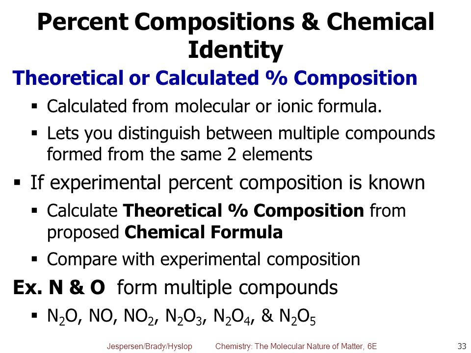 Percent Compositions & Chemical Identity