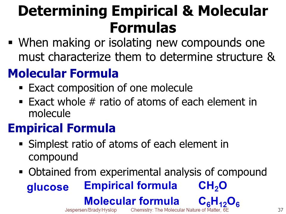 Determining Empirical & Molecular Formulas