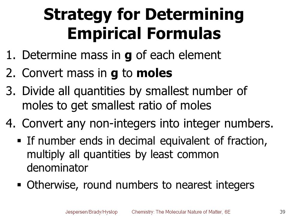 Strategy for Determining Empirical Formulas