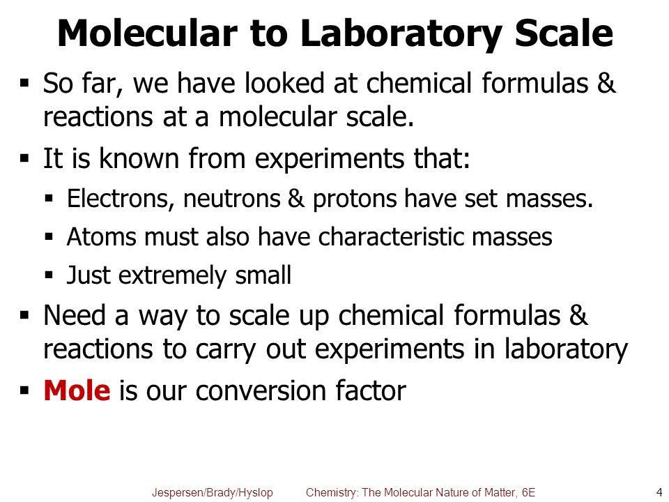 Molecular to Laboratory Scale