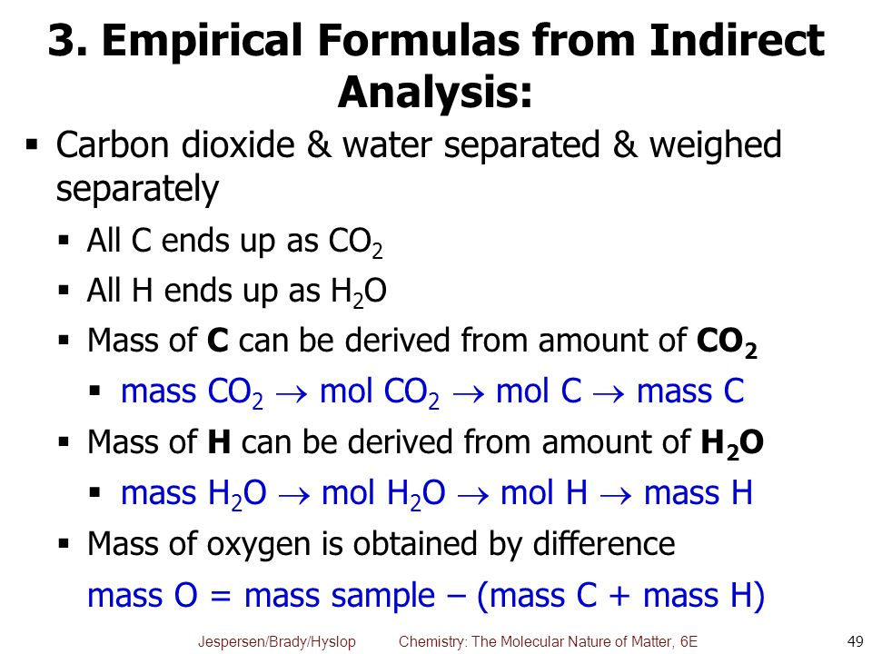 3. Empirical Formulas from Indirect Analysis: