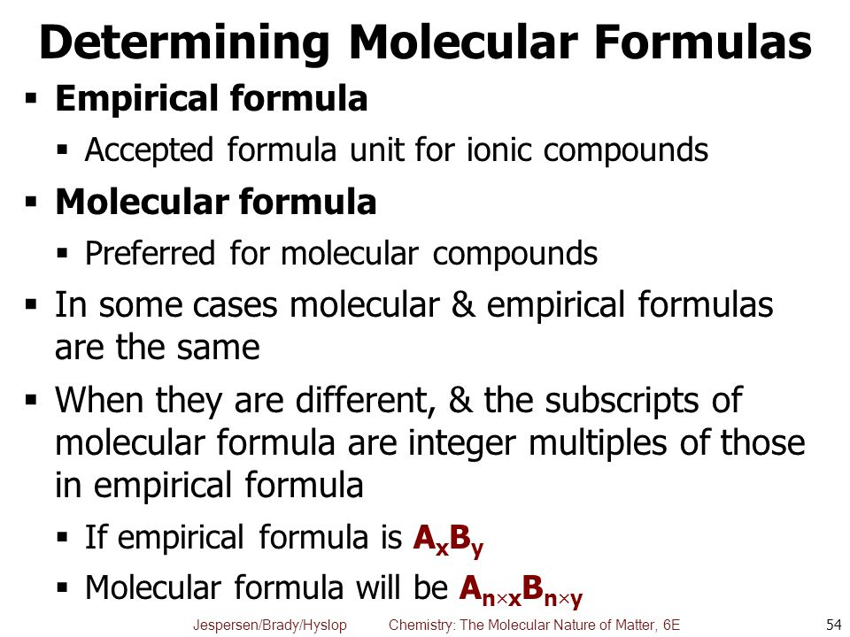 determining molecular formula Use this information to determine the formula for the hydrate - find the mass of the water driven off: find the chemical formula and the name of the hydrate.