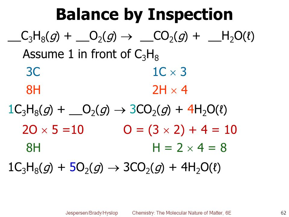 Balance by Inspection __C3H8(g) + __O2(g)  __CO2(g) + __H2O(ℓ)