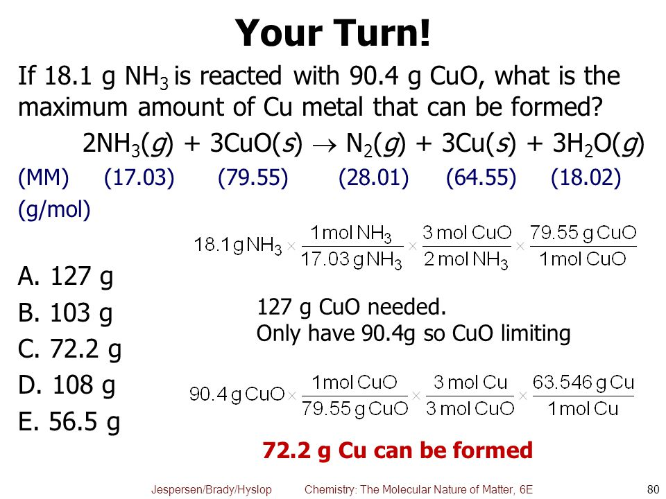Your Turn! If 18.1 g NH3 is reacted with 90.4 g CuO, what is the maximum amount of Cu metal that can be formed